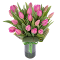 Pink Tulips in a Glass Vase Flowers