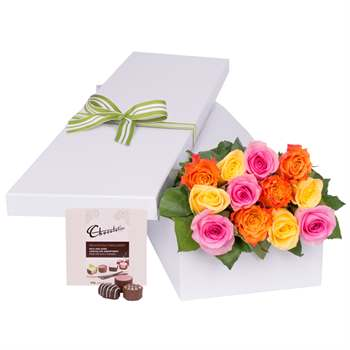 12 Multi Colour Roses with Chocs gift boxed Flowers