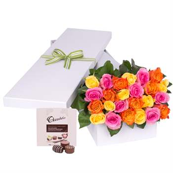 24 Multi Colour Roses with Chocs gift boxed Flowers