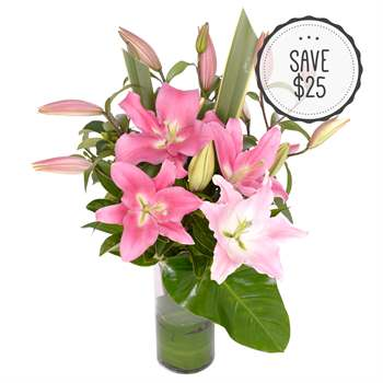 Oriental Lilies in a Glass Vase - Pink Flowers