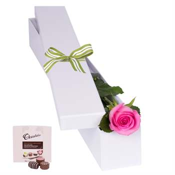 Pink Rose with Chocs in gift box Flowers