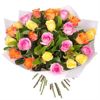 Rose Bouquet of 30 Multi Colour Roses Flowers