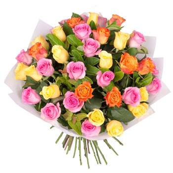 Rose Bouquet of 40 Multi Colour Roses Flowers