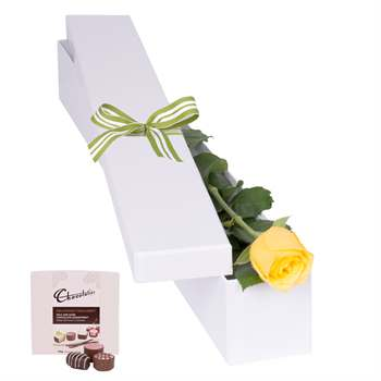 Yellow Rose With Chocs In Gift Box Flowers