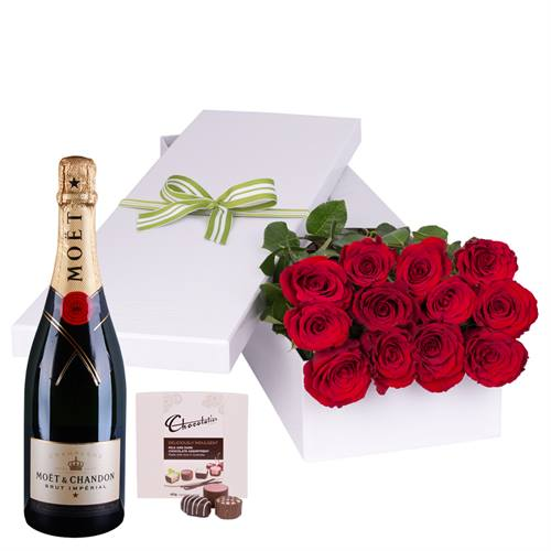 Valentine's Day 12 Red Roses with Moet Champagne and Chocs boxed