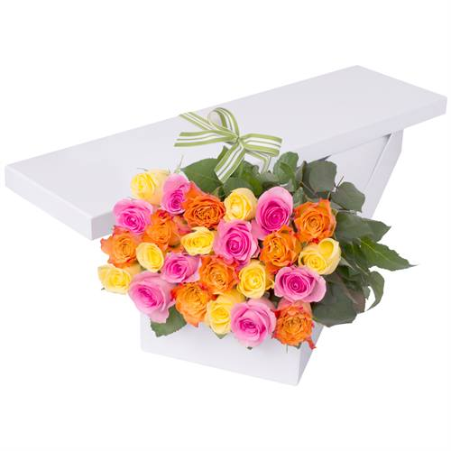 24 Multi Colour Roses with Chocs gift boxed