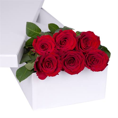 6 Long Stem Red Roses With Chocs Gift Boxed
