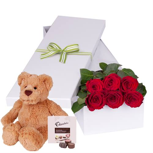 Valentine's Day 6 Red Roses with chocs gift boxed PLUS Teddy Bear