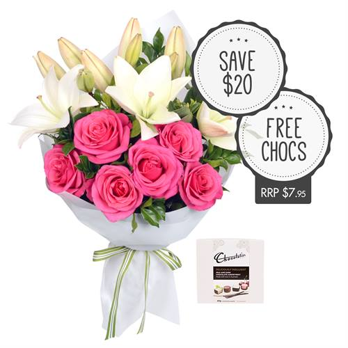 Fancy Flowers Roses and Lilies with Chocs