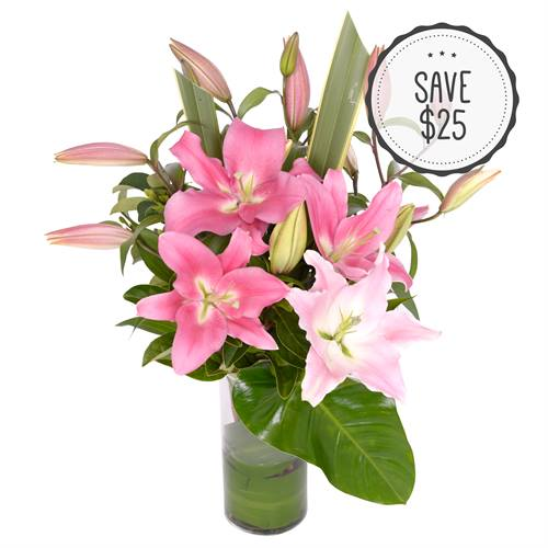 Oriental Lilies in a Glass Vase - Pink