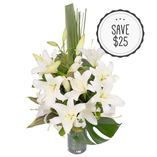 Oriental Lilies in a Glass Vase - White