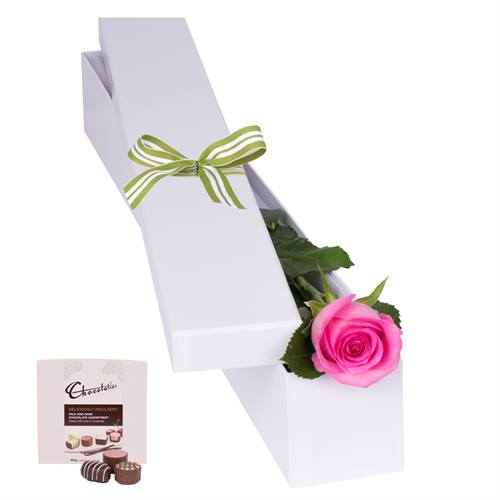 Pink Rose with Chocs in gift box