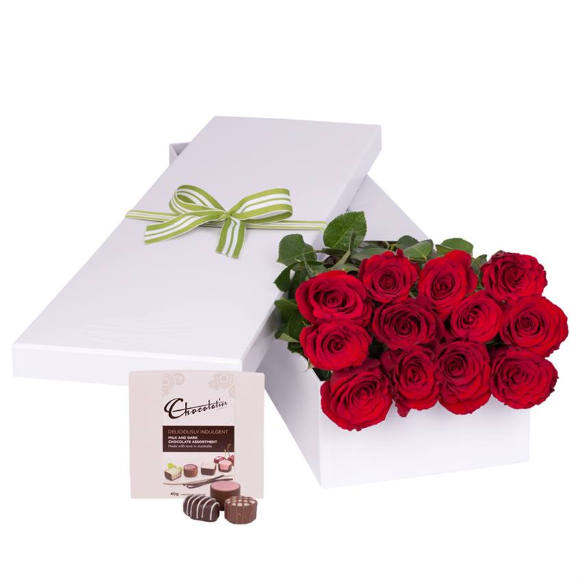 12 Red Roses with Chocs gift boxed