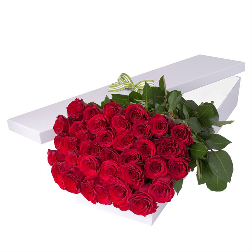 36 Red Roses with Chocs in Gift Box