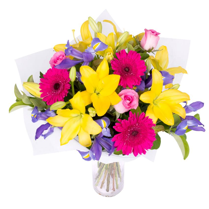 Hot, striking and vibrant bouquet of flowers