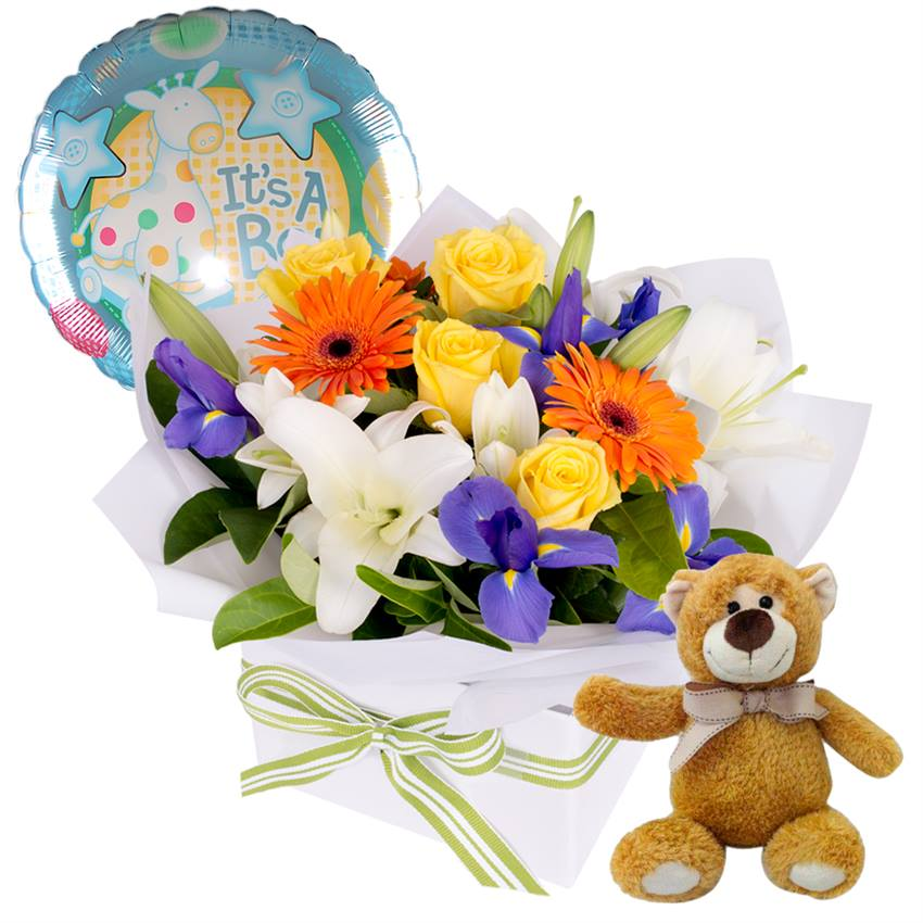 It's a Boy - Flowers, Bear and Balloon