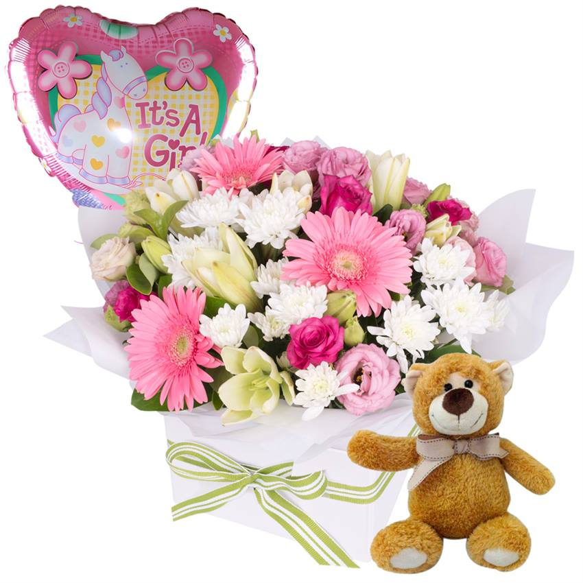 It's a Girl - Flowers, Bear and Balloon