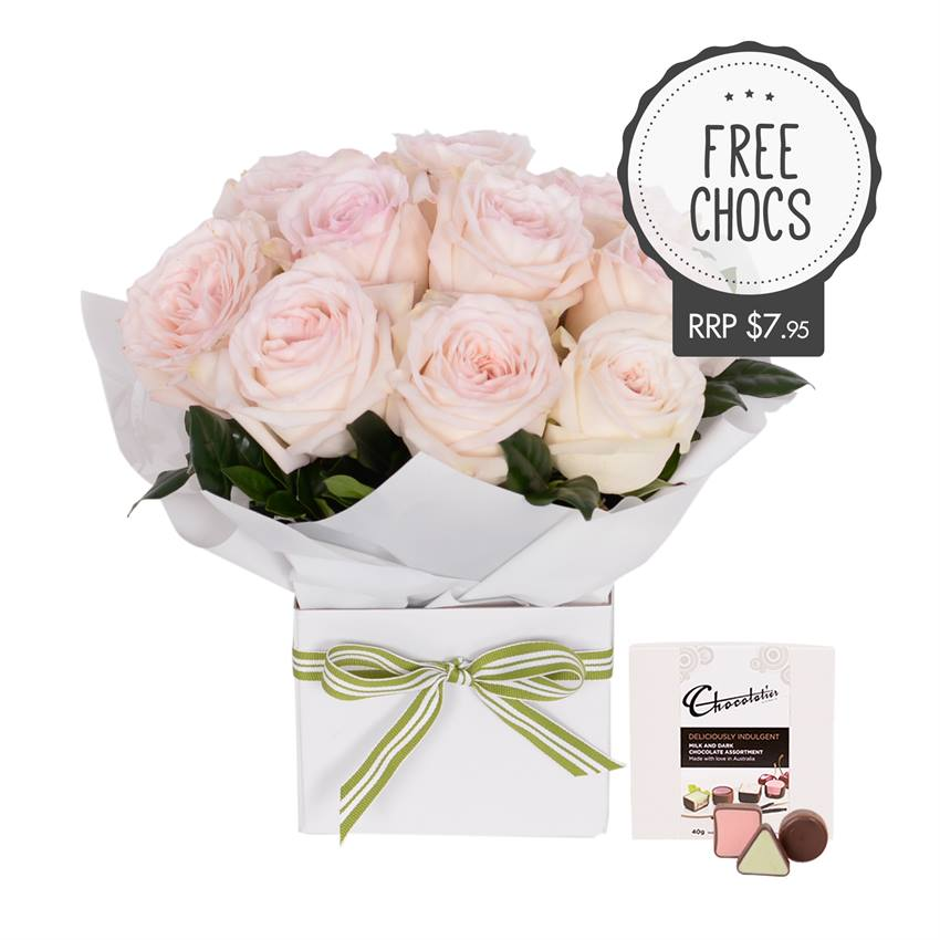 Lush - Soft Pink Roses on White with Chocs