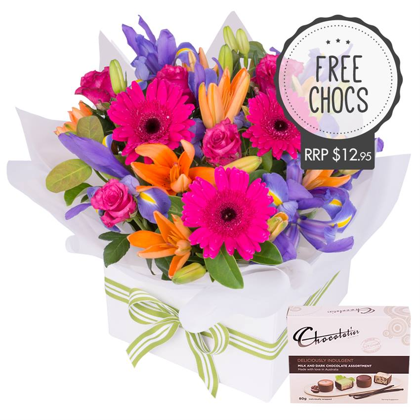 Vivid Box of Flowers with Chocs