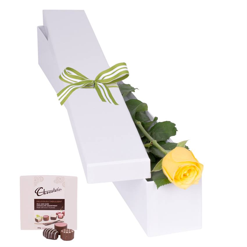 Yellow Rose with Chocs in gift box